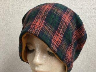 秋冬素材帽子   チェック 厚地の画像