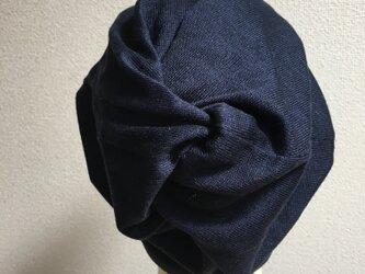藍色のくしゅくしゅ帽子 中厚地の画像
