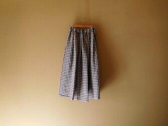 リネンギンガムのスカート ブラックの画像