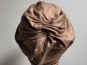 ミルクティー色のくしゅくしゅ帽子 中厚地の画像