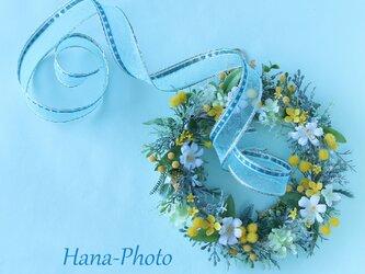 Sold ふわふわミモザとブバリアの春色イエローリース    (リース台:15㎝)  (220)の画像