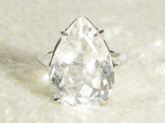 12.15ctヒマラヤ水晶とSV925の指輪(リングサイズ:13.5号、ロジウムの厚メッキ、ペアシェイプ、4月の誕生石)の画像