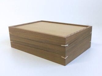 杉の小さな道具箱 裁縫箱 木箱 はがき箱 木製 無垢材 白くさびの画像