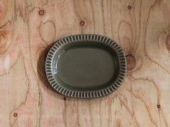 オーバル しのぎ皿 グレージュの画像