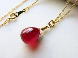 大粒☆宝石質AAA ルビーのドロップネックレス 一粒 ネックレス 14kgfチェーンネックレス の画像