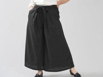 【wafu】中厚地 リネン タックワイドパンツ 紐付き フロントタック リネンパンツ/ブラック b006e-bck2の画像