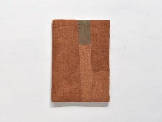 A5ノートカバー|柿渋染め モダンキルトのノートカバー #01の画像