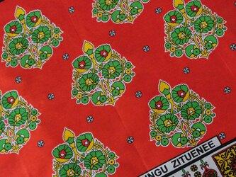 アフリカ布『カンガ』ルージュ・オレンジの画像
