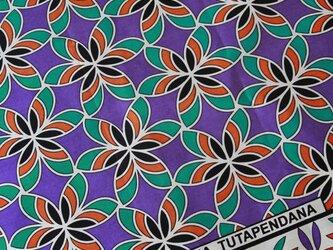 アフリカ布『カンガ』バイオレット フラワーの画像