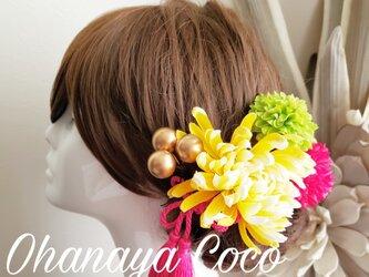 袴 振袖 色打掛 華やか重ねキクとマムの髪飾り5点Set No720の画像