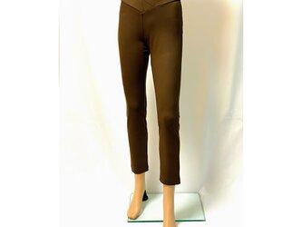 1サイズで7~13号対応!穿いている感じがしない美脚スキニーストレートロングパンツ:チョコレートブラウンの画像