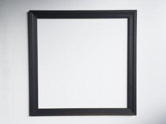 鏡 ミラー エレガントなブラック 木製 壁掛け スクエア 50 x 50 cmの画像