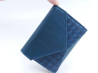 """小さな三つ折り財布 """"Ripper""""マイクロウォレット イタリア産ブッテーロ×日本産オイルグローブ<ネイビー>の画像"""