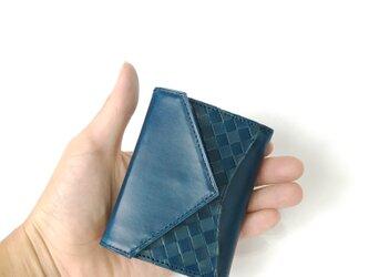 """小さな三つ折り財布 """"Ripper""""マイクロウォレット イタリア産ブッテーロ×日本産栃木レザー<ネイビー>の画像"""