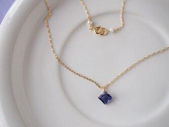 14KGF アイオライトのダイヤ型ペンダントの画像