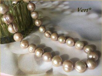 《1点のみ》【Vermeil】ライトシャンパンベージュ縞入りポテト淡水パールグリフィンショートネックレスの画像