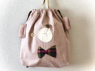 新作☆くまのお着替え袋【ストライプピンク】の画像