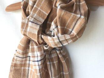 手紡ぎ糸・藍と茶綿のマフラーM27-①の画像