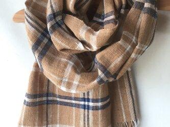 手紡ぎ糸・藍と茶綿のマフラーM27-②の画像