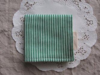 06【お名前タグ付*6重ガーゼハンカチ】ストライプ・緑の画像