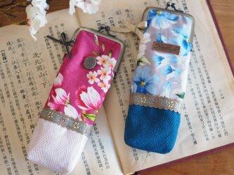 ★台湾花布★100%手縫い5cmがま口ペンケース【受注製作】の画像