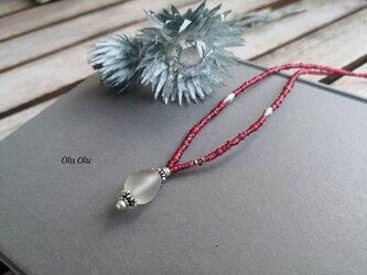 古代水晶×アンティークホワイトハーツ×カレンシルバーのネックレスの画像