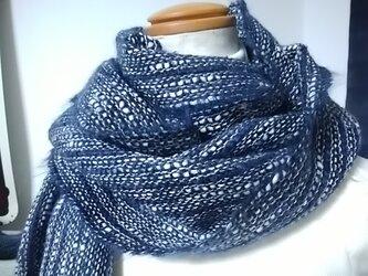手織り・ふんわりマフラー(藍色)の画像