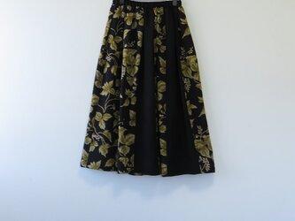 *アンティーク着物*花模様着物のパッチスカート(裏地つき)の画像