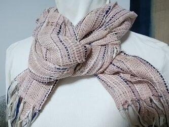 手織り・爽やかストール(ピンク)の画像