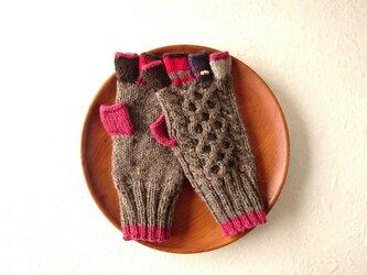 <St.Valentine'Day>パール付き 五本指手袋*pelle・カシスチョコレート*の画像