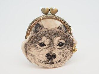 気持ち華やぐがま口ポーチ・コインケース(口金8.5センチ)柴犬1の画像