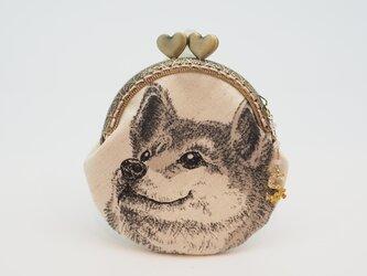 気持ち華やぐがま口ポーチ・コインケース(口金8.5センチ)柴犬3の画像