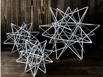 ヒンメリ「太陽 the sun」大サイズ星型 野外使用可なアルミ製 幾何学オブジェ シルバー クリスマスオーナメントの画像
