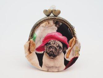 気持ち華やぐがま口ポーチ・コインケース(口金8.5センチ)帽子をかぶった犬1の画像