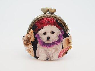 気持ち華やぐがま口ポーチ・コインケース(口金8.5センチ)帽子をかぶった犬2の画像