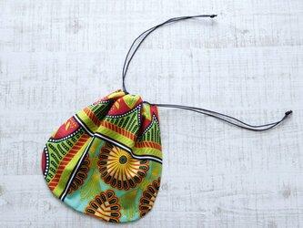 アフリカ布『カンガ』の巾着 お弁当袋やバッグの整理に♪の画像