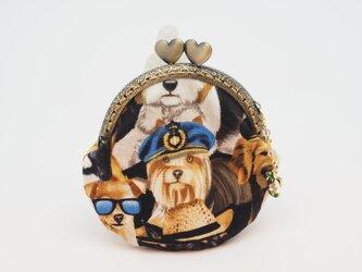 気持ち華やぐがま口ポーチ・コインケース(口金8.5センチ)カッコイイ犬2の画像