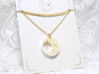 ムーンライトネックレス[デイムーン] 〜ペーパークイリングの軽いネックレス〜の画像