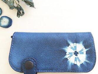 藍染め(絞り染め)長財布の画像