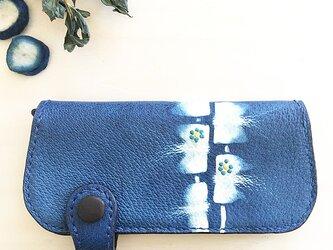 藍染め(つまみ絞り)長財布の画像