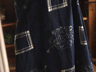 古布絵絣と久留米絣のワンピースの画像