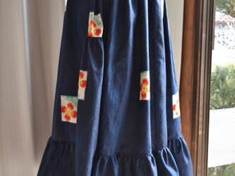 着物リメイク 段違いギャザースカート J-32の画像