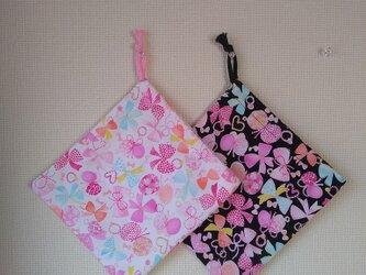 片紐コップ袋1枚 チョウとリボンの画像