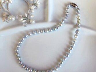 【あこや真珠】ナチュラル グレーパール ネックレス 天然 MN0220-001の画像