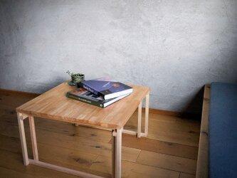 木組みで製作 テーブル 自然塗料 60cm角 ローテーブル、リビングテーブル、桧、松、ラバーウッドの画像