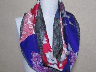 着物リメイク 3重巻き出来る 3種類の薔薇模様の銘仙×大島紬からロングスヌードの画像