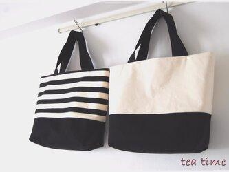 ボーダー&帆布のリバーシブルトートバッグ Lサイズ(黒)の画像