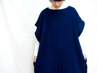 藍染チュニックワンピース 両脇ポケット付きの画像