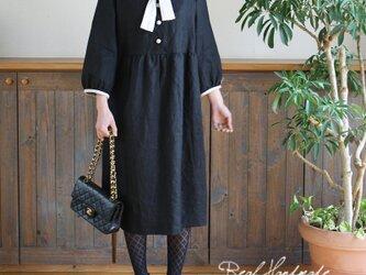 [予約販売] ブラックリネンフラットカラーリボンワンピース **卒園 卒業式 入学式 ブラックフォーマル 冠婚葬祭 ブライダルの画像