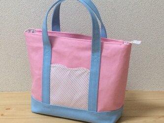 【動画・受注】春色♪ ファスナー付き☆帆布トートバッグ 表も裏もピンク×水色 の画像